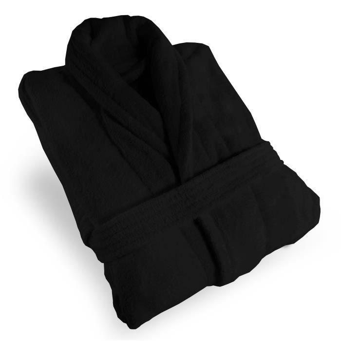 PEIGNOIR Peignoir de bain MICROFIBRE noir, taille L. Compos