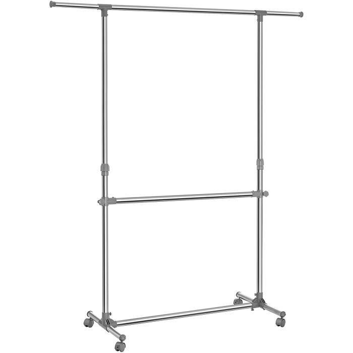 Songmics® Portant Penderie à vêtement à 4 roulettes,113-198cm, porte manteau, tube en fer revêtu d
