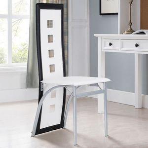 CHAISE Lot de 6 chaises de salle à manger - Simili Blanc/