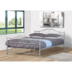 lit metal adulte 140x190 achat vente lit metal adulte 140x190 pas cher cdiscount. Black Bedroom Furniture Sets. Home Design Ideas