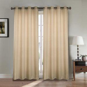 RIDEAU Paire double rideaux 140x260 cm Taupe - Effet lin