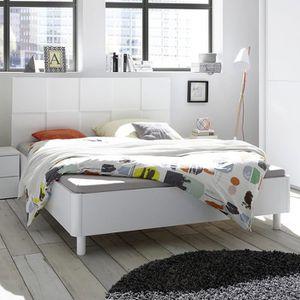 STRUCTURE DE LIT Lit 180 cm blanc laqué design TIAVANO Blanc L 210