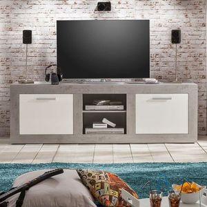 MEUBLE TV Meuble TV moderne blanc laqué et effet béton ciré