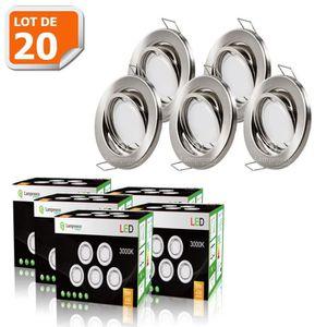 SPOTS - LIGNE DE SPOTS Lot de 20 Spots encastrable orientable - Alu bross