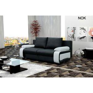 CANAPÉ - SOFA - DIVAN Canapé Convertible Nok - Noir et blanc