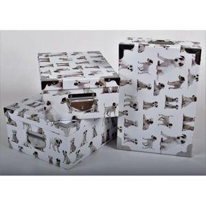 BOITE DE RANGEMENT DOG Lot de 3 boites de rangement en carton imprimé