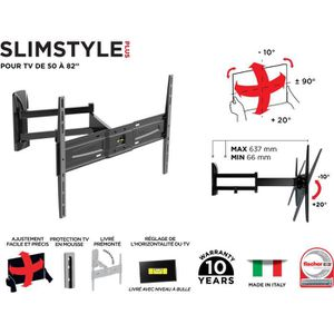 FIXATION - SUPPORT TV MELICONI 480983 Support mural TV inclinable et ori