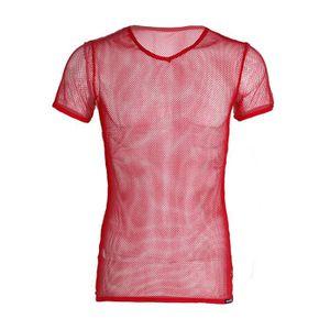 T-SHIRT T-shirt Homme Sexy Top Manches Courtes Résille Hau