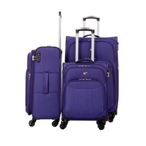 SET DE VALISES Set de 3 valises souples 8 roulettes Verage Violet