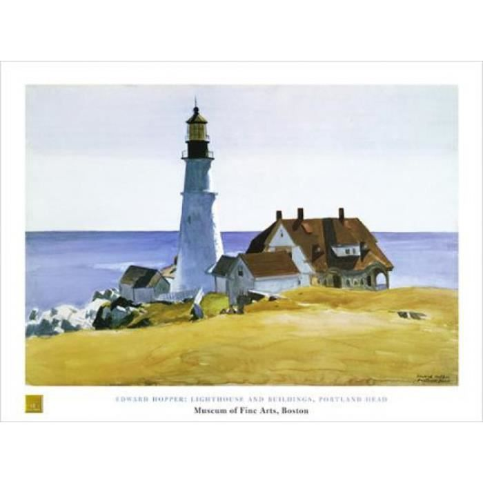 Edward hopper poster reproduction phare et b timents 60 x 80 cm achat - Edward hopper maison ...