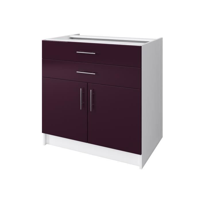 city caisson bas de cuisine 80 cm laqu aubergine brillant achat vente elements bas city. Black Bedroom Furniture Sets. Home Design Ideas