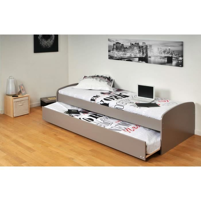 romain lit gigogne enfant 90x190cm finition gris achat vente structure de lit romain lit. Black Bedroom Furniture Sets. Home Design Ideas