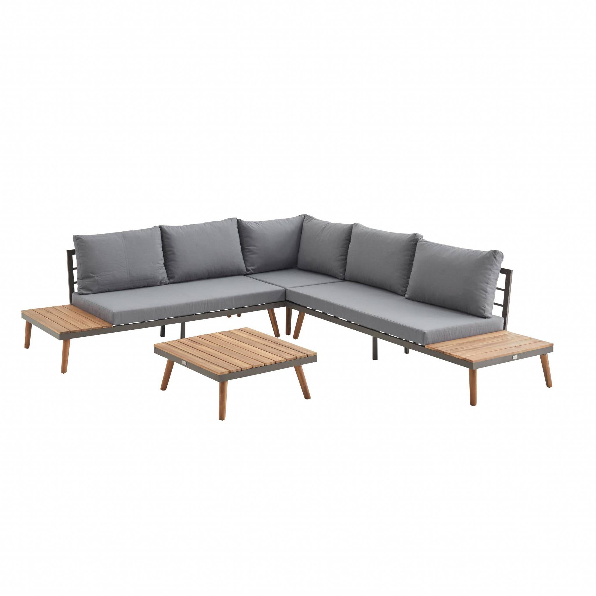Salon de jardin en bois 5 places - Buenos Aires - Coussins gris, canapé d'angle, tablettes latérales et table basse en acacia,