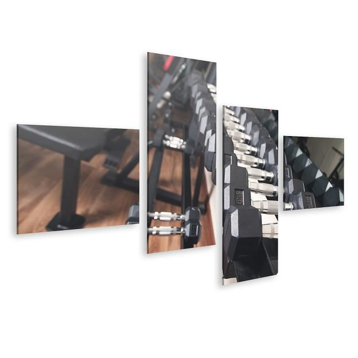 Tableau sur toile Haltères en métal pour la musculation en salle de sport. Taille: 150x80cm - 4 Pièces