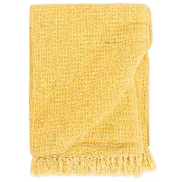 Couverture en coton 220 x 250 cm Jaune moutarde -RAI