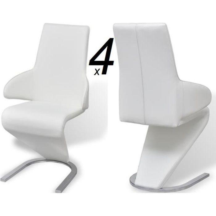 Ensemble 4 chaises en simili cuir de cuisine salon salle à manger Design blanc