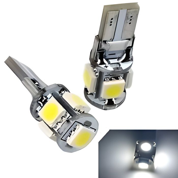 2 X AMPOULES T10 W5W 5 LED SMD CANBUS BLANC