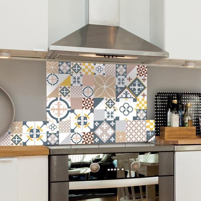 99 DECO - Crédence cuisine Aluminium CIMENT STYLE PASTEL ROSE - Lot de 2 L100xH20cm - Multicolore - Mixte Adultes - L:100 H:20 cm