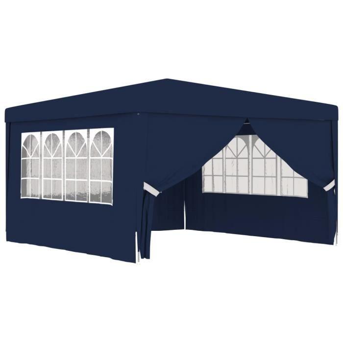 Tente de réception Tonnelle de jardin, Pavillon de Jardin avec parois latérales 4x4 m Bleu 90 g-m²