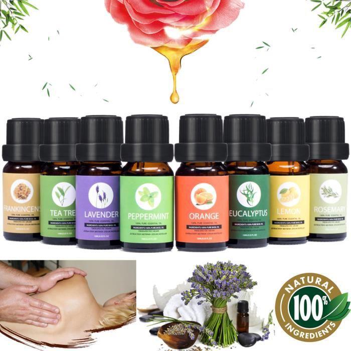 Huiles essentielles d'aromathérapie, 100% naturel pur de la plus haute qualité(8 x 10 ml)