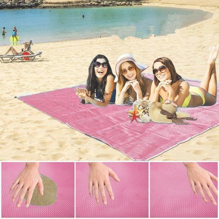 1pcs Tapis de sol Tapis Tapis mer anti-sable serviette de plage qui ne se enlisons 200 x 150 cm, avec 4 x ancres en plastique (Rose