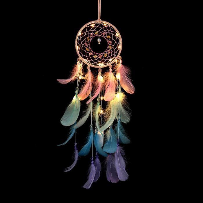 CARILLON A VENT - CARILLON EOLIEN,Attrape rêves de rêves en plumes - Type with light