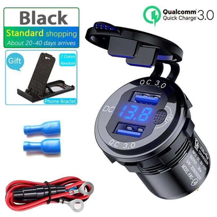LED affichage 36W 12V USB prise voiture QC3.0 interrupteur en métal étanche universel camion voiture briquet prise prise*SD0493