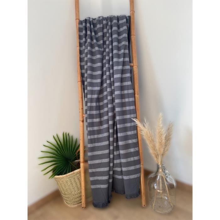 Fouta doublée éponge Alanya Gris 100% coton - 150x180 cm 380g/m²
