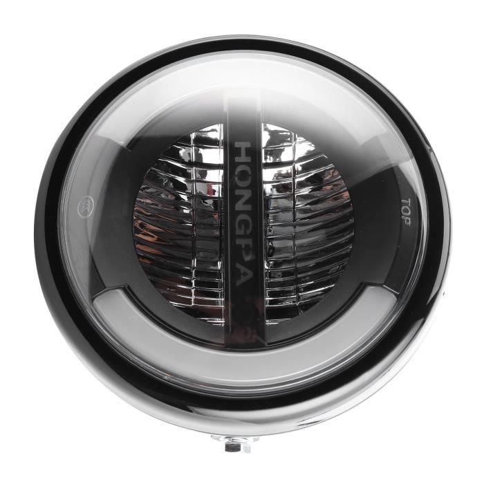 Zerodis phare à LED 7in Vintage LED phare feux de croisement diurnes anneau clignotant pour moto (boîtier noir brillant)