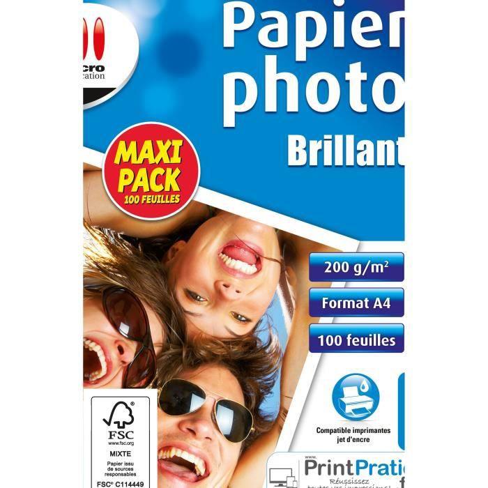 Papier Photo Brillant Maxi Pack - 100 feulles - 200 g/m²