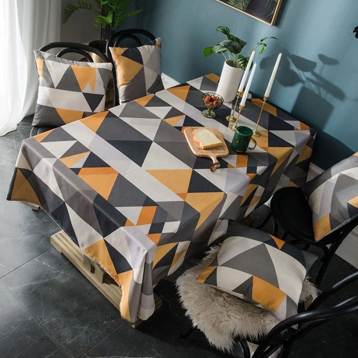 Nappe de Table Rectangulaire 140x180 cm Jaune Tissu de Table Imperméable Grand Triangle pour Maison Restaurant Mariage Cérémonie