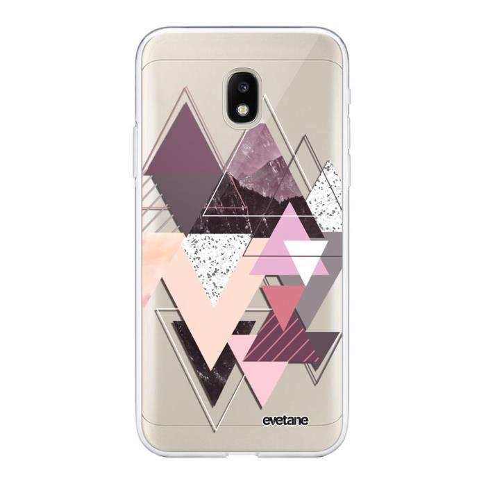 Coque pour Samsung Galaxy J3 2017 transparente Triangles Design Tendance Evetane.