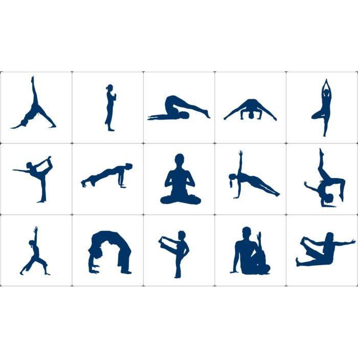 Poster Affiche Positions de Yoga Asanas Meditation Bien Etre Inde 42cm x 70cm