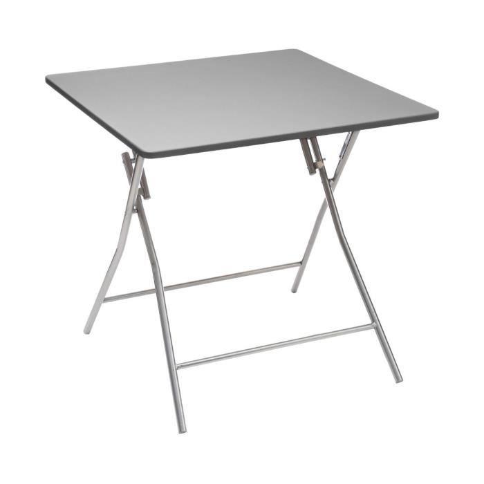 Five - Table d'Appoint pliante Grise 80 x 80 cm