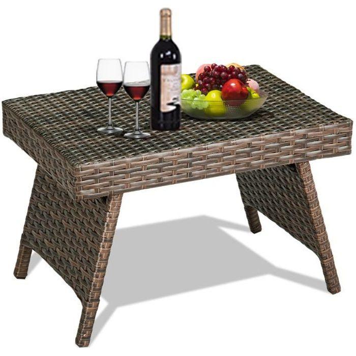GIANTEX Table de Jardin en Rotin Pliante,Table Basse Tréssée pour Salon Jardin Balcon Terrasse 60 x 40 x 39 CM,Brun Foncé