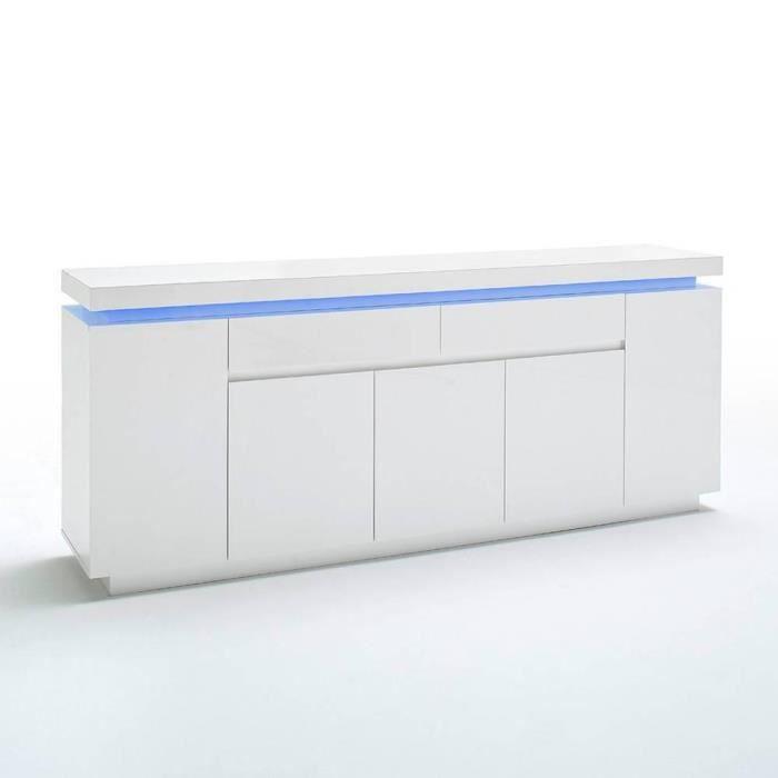 Buffet OCEAN laqué blanc brillant 5 portes 2 tiroirs LED inclus blanc bois Inside75