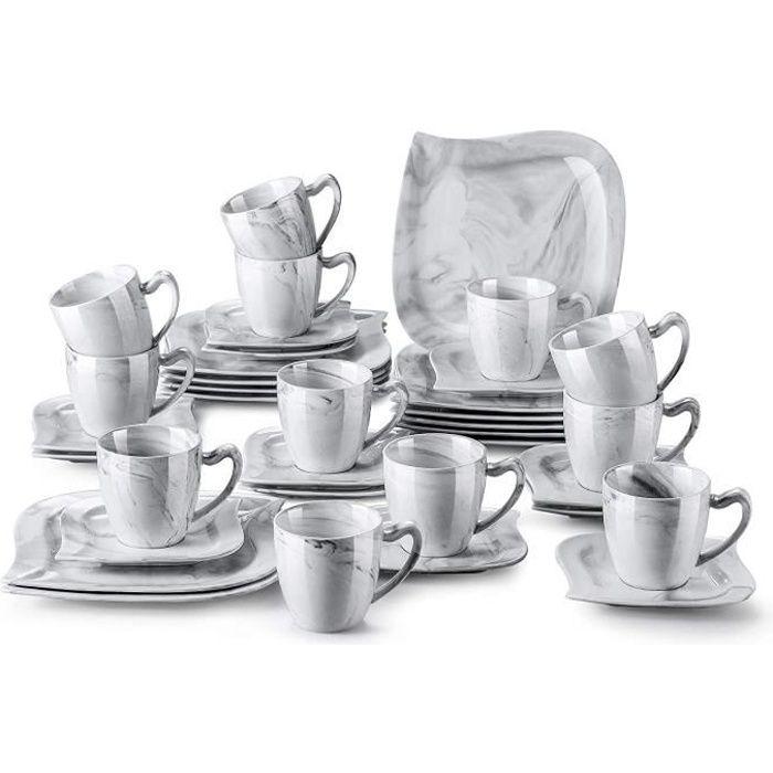 MALACASA, Série Flora, 36 pcs Service de Table Porcelaine Marbre,12 Assiettes à Dessert, 12 Tasses à Café, 12 sous-Tasses