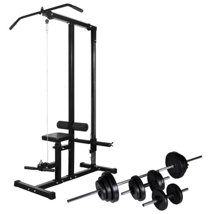 Tour de musculation-Fitness Barre de traction Station musculation avec jeu d'haltères et poids 30,5 kg