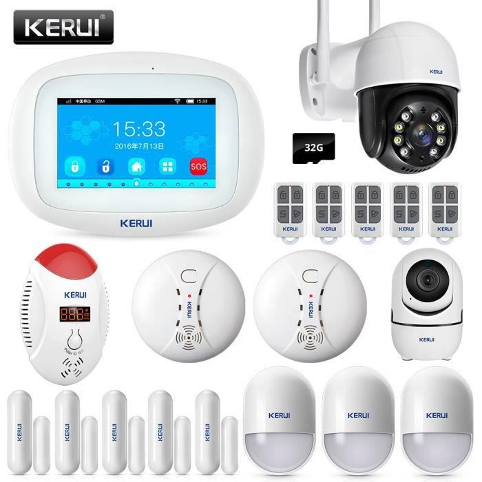 RUMOCOVO® système d'alarme de sécurité domestique sans fil , wi-fi, GSM, capteur de porte, détecteur de fumée, caméra IP