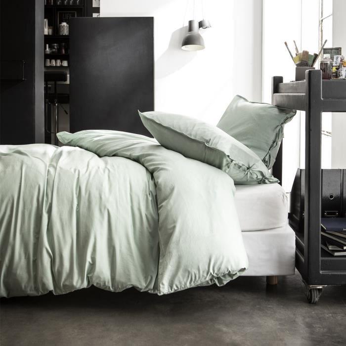 Housse de couette et taie d'oreiller Today 100% coton lavé Celadon Terra Rosa - taille:220 x 240 cm