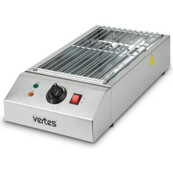 vertes grill électrique de 2500 watts (230 V, température réglable en continu jusqu'à 650°, surface de gril de 425 x 235 mm)