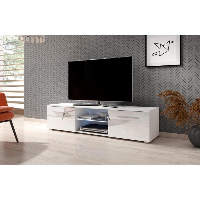 VIVALDI Meuble TV - MOON - 140 cm - blanc mat / blanc brillant avec LED - style moderne