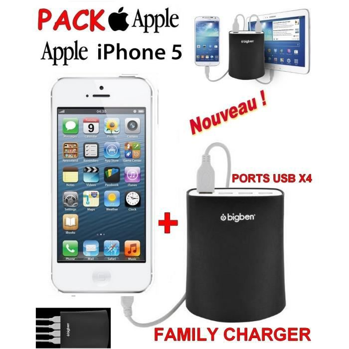 familly chargeur apple iphone 5 blanc achat smartphone. Black Bedroom Furniture Sets. Home Design Ideas