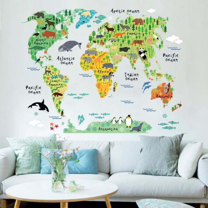 couleur s animaux carte du monde stickers muraux salon d corations pour la maison pvc art mural. Black Bedroom Furniture Sets. Home Design Ideas