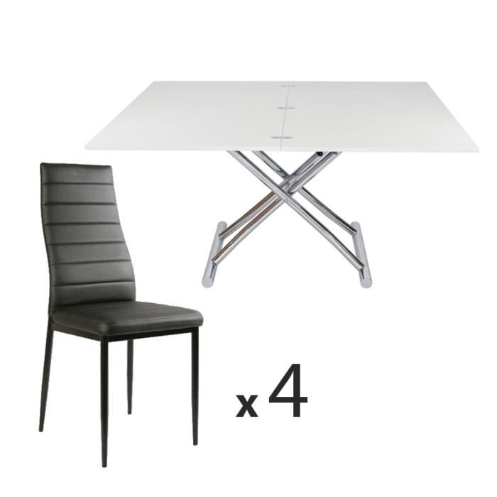 Table basse relevable laqu blanc 4 chaises achat for Table chaise blanc laque