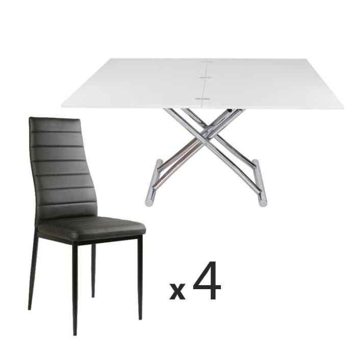 relevable Table laqué Achat basse blanc4 chaises ZiuPkX