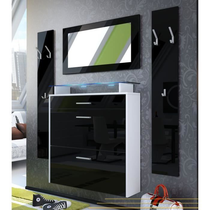 vestiaire blanc et noir laqu achat vente meuble d. Black Bedroom Furniture Sets. Home Design Ideas