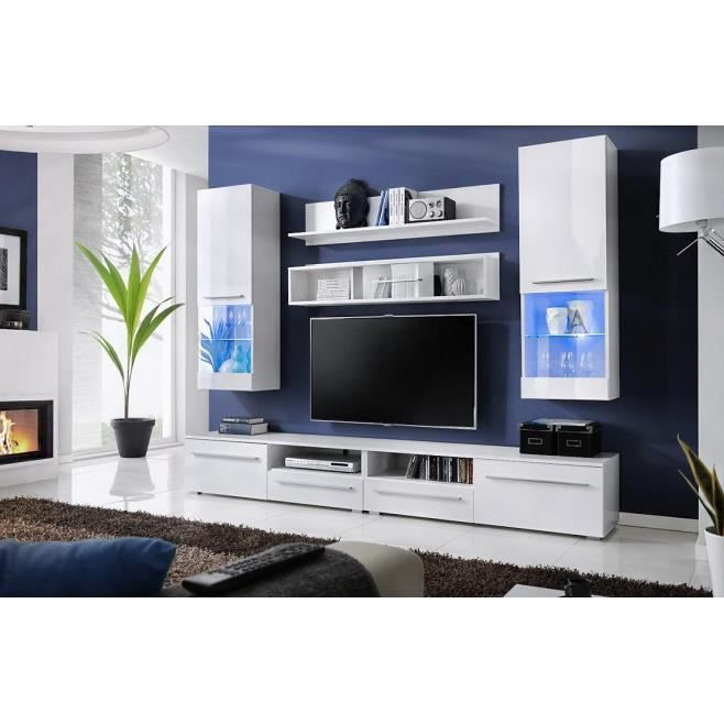 Meuble tv design laqu blanc avec led stockholm achat for Photo meuble tv design