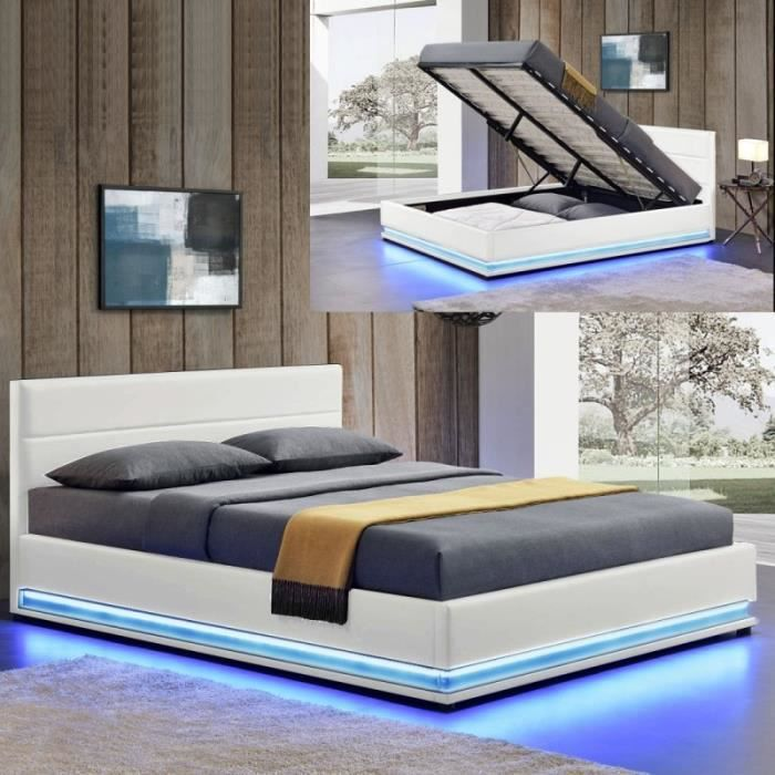 lit led avec coffre de rangement ava 140x190 blanc achat vente lit complet lit led avec. Black Bedroom Furniture Sets. Home Design Ideas