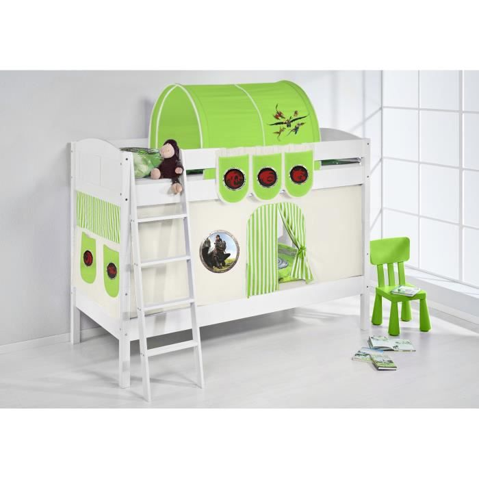 lits superpos s ida 4106 dragons vert avec rideaux et deux sommier lattes lilokids blanc. Black Bedroom Furniture Sets. Home Design Ideas